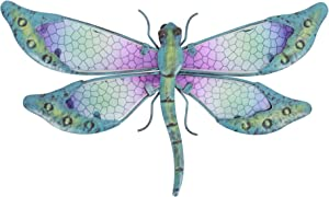 SOTALING Metal with Glass Handmade Mosaic Dragonfly Design Wall Decor for Home, Patio, Porch