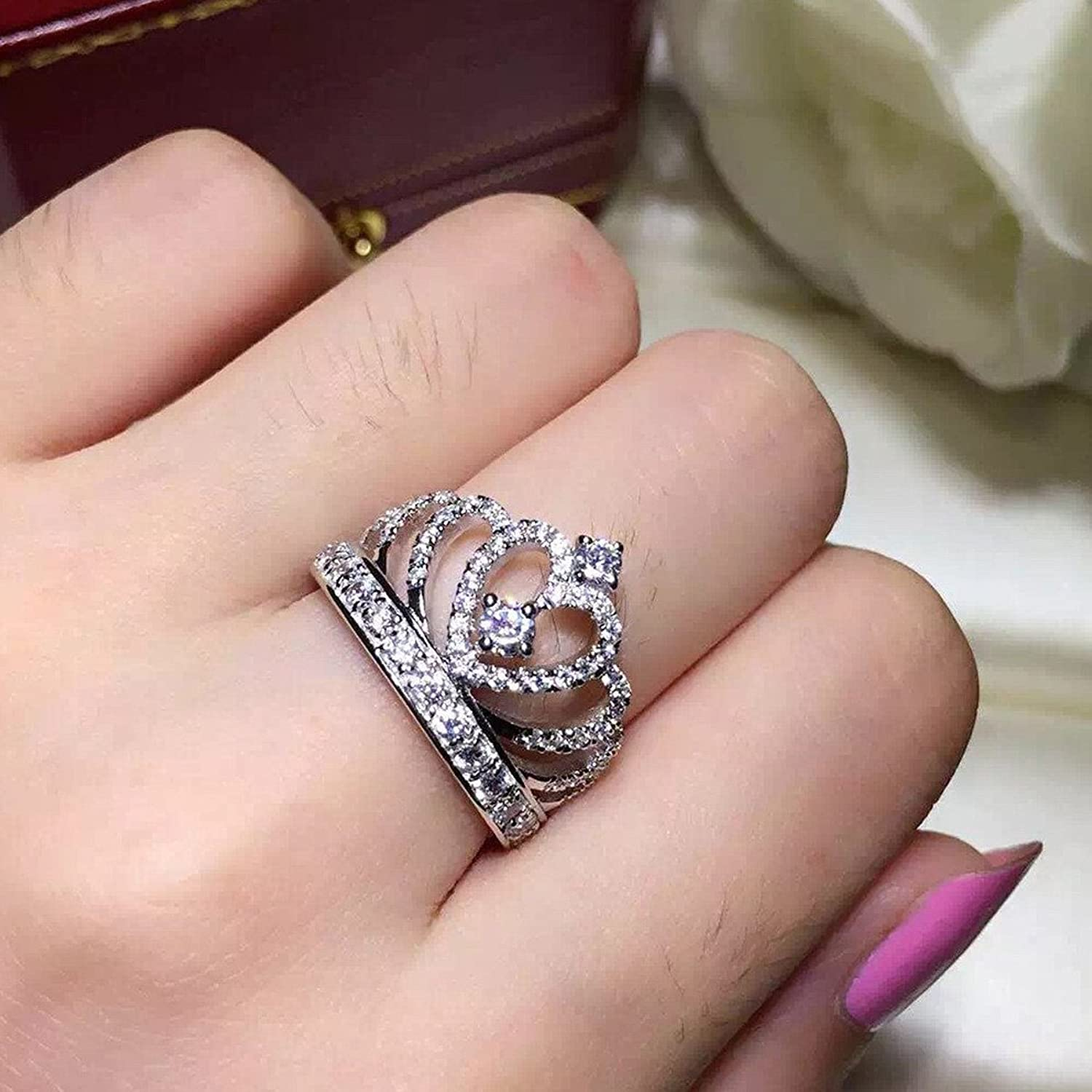 Amazon.com: Paitse 925 Sterling Silver Crown Shape Bridal Wedding ...
