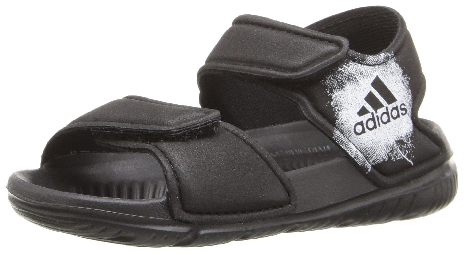 adidas Boys' Altaswim I Sandal, Black/White/Black, 4 M US Toddler