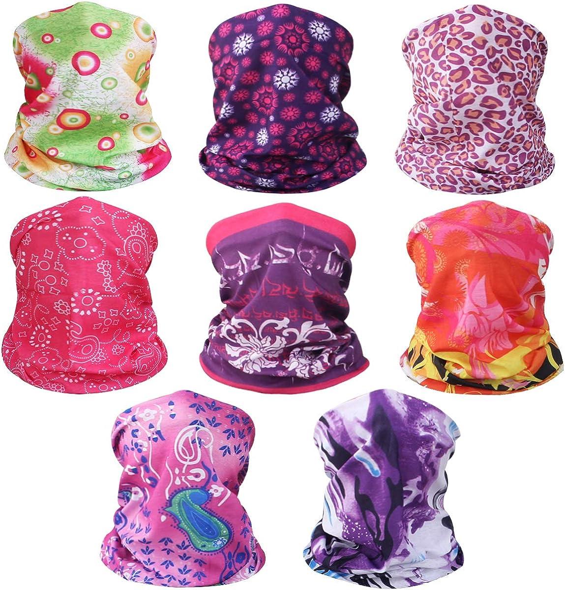 kilofly 6//8 pc Multi-purpose Seamless Headwear Bandanas Mixed Set Value Pack