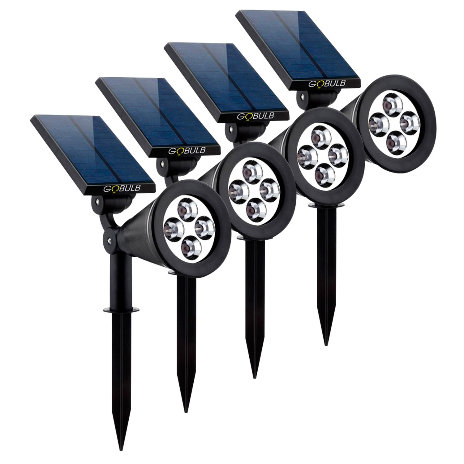 Solar Spot Lights Outdoor, Waterproof 2-in-1 Outside Solar Powered Spotlight Led Lighting Auto On/Off for Pathway, Walkway, Patio, Yard, Garden and Landscape 4-Pack by GOBULB