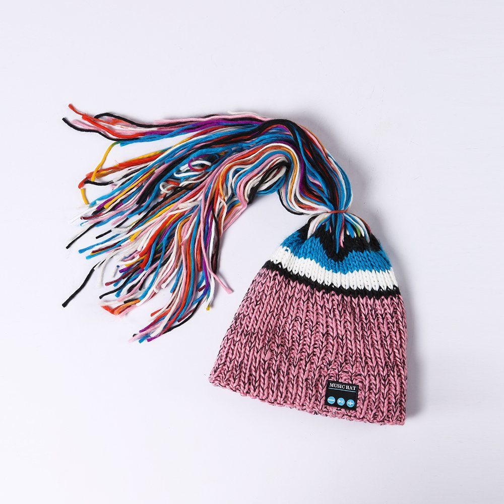 Black1 Momoday Wireless Beanie Knitted Winter Warm Music Unisex Hat Cap with Headphone Microphone for Hands Free Talking Winter Sports Fitness Gym Jogging Camping
