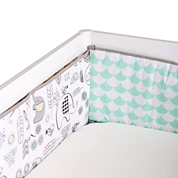 092f0e092dc6c Amazon.com   Lolli Living Elle Elephant Crib Bumper with Reversible Mint  Scallop. 100% Cotton Baby Crib Liner (Kayden Collection)   Baby