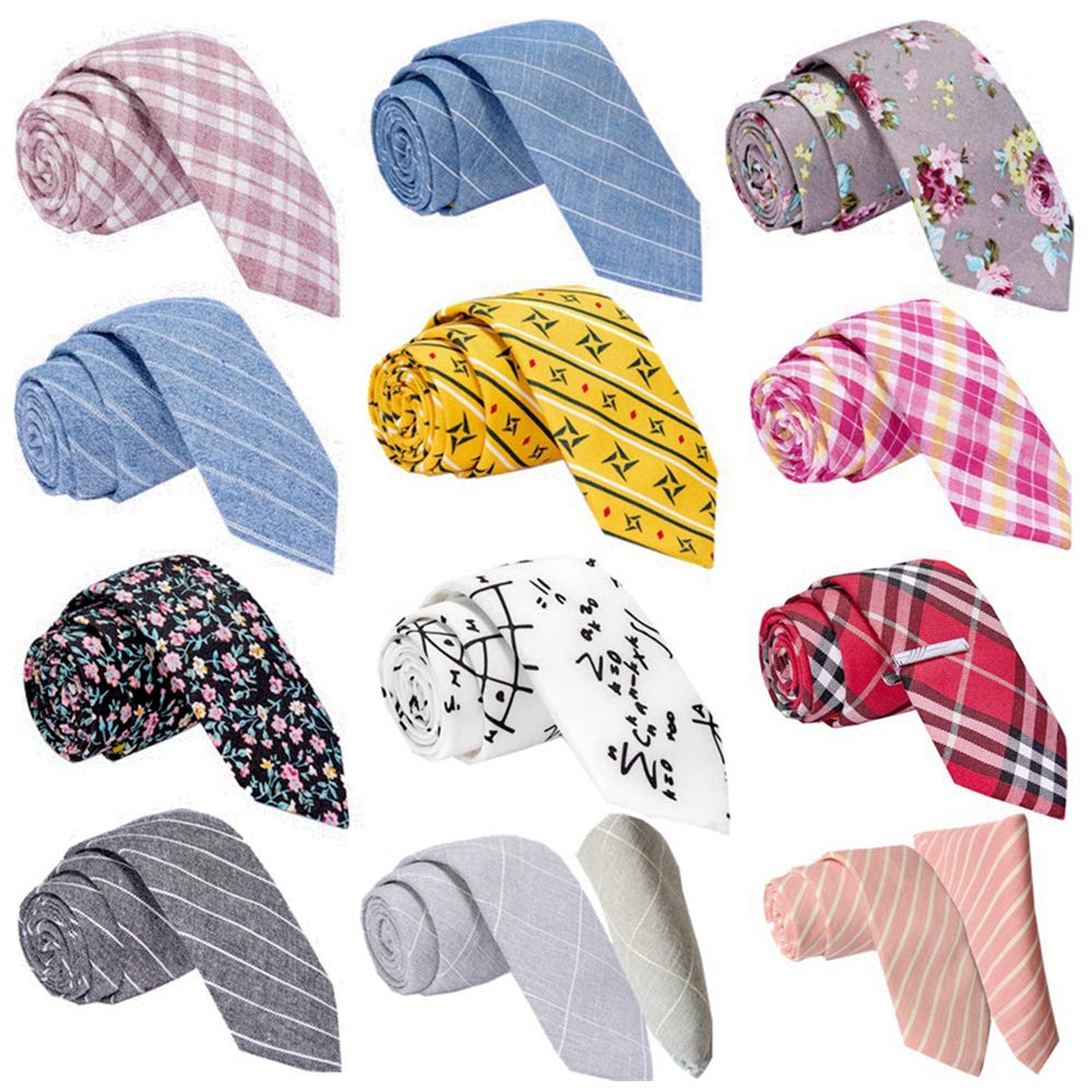 Mens Ties,Something Strong 12 PCS Necktie Classic Cotton Handmade Skinny Neck Tie Sets for Men (2.25''+12pcs+square+04) by Something Strong
