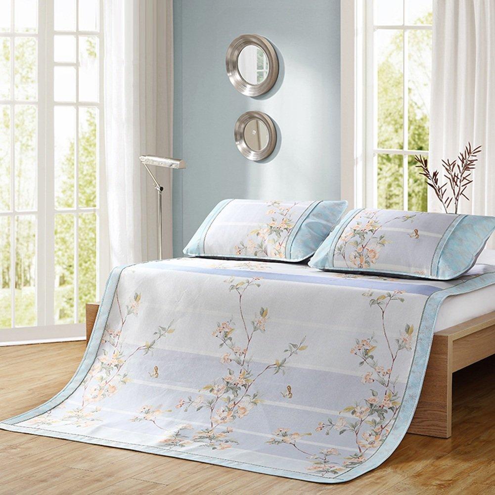 WENZHE Matratzen Sommer-Schlafmatten Strohmatte Teppiche Zusammenklappbar Doppelbett Eismatte Cool Atmungsaktiv, 3 Farben, 1,5/1,8 M (Farbe : C, größe : 1.5×2.0m)