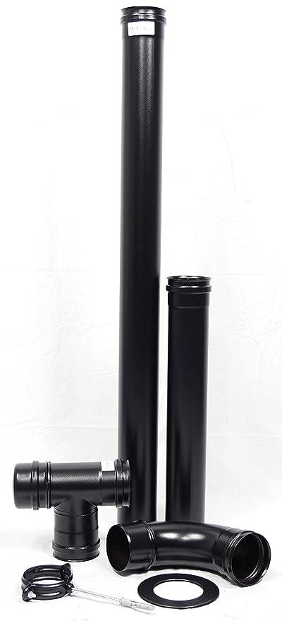 Humo Tubo Set 80 mm ACERO INOXIDABLE Negro con abrazadera de ...