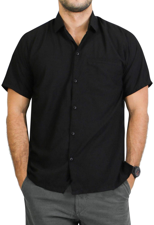 TALLA 6XL - Torace (in cms) : 172 - 178. LA LEELA Shirt Camisa Hawaiana Hombre XS - 5XL Manga Corta Delante de Bolsillo Impresión Hawaiana Casual Regular Fit Camisa de Hawaii Negro