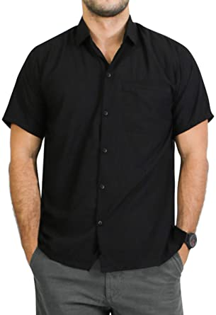 "cd4bf11c LA LEELA Rayon Beach Floral Men's Shirt Black X-Small | Chest 36"" -"