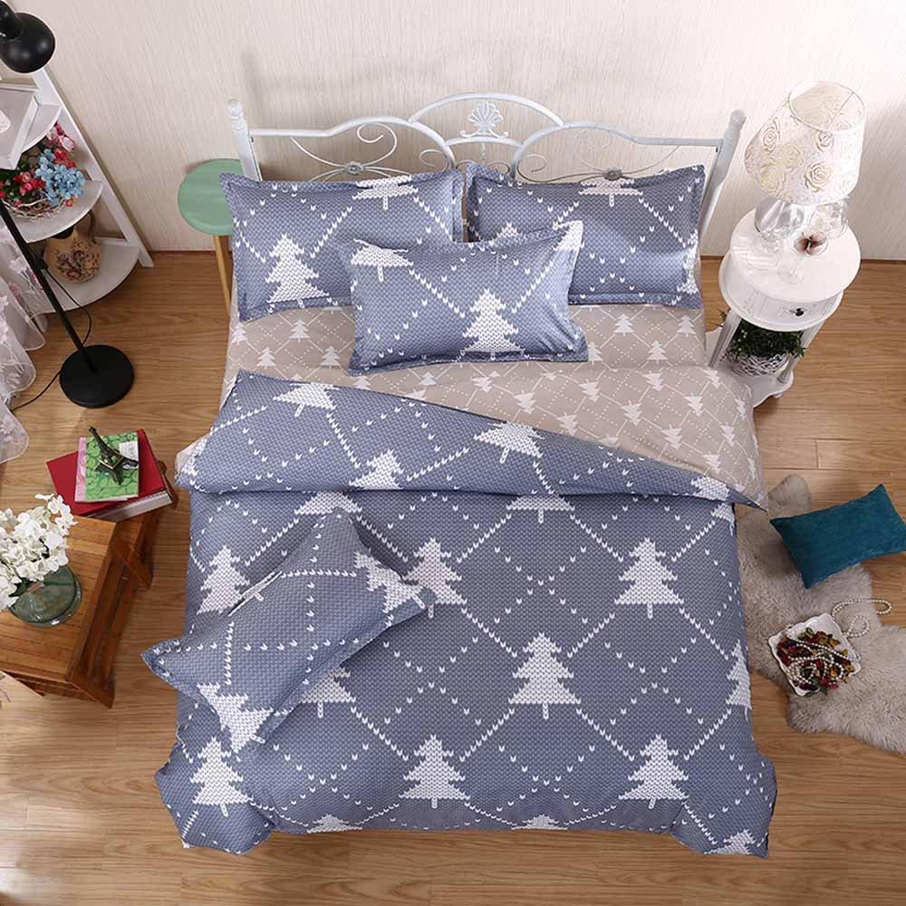 GladsBuy Pine Tree Duvet Cover Pillowcase Flat Sheet 4pcs Sheet Set Queen Soft Comfortable Durable Print Bedding Set DBL079