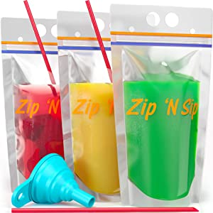 100 Hand-Held Drink Pouches with Straw Hole: BPA Free Clear Plastic Smoothie Bags with 100 Straws, Silicone Funnel, Heavy Duty Reclosable double zipper leak proof Stand Up Pouch with Bottom Gusset