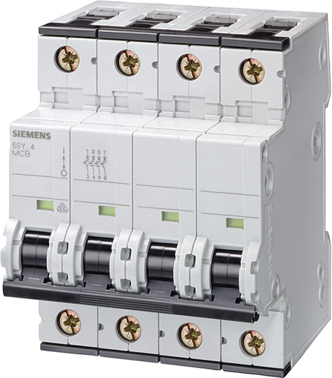 Siemens 5SY64257 Supplementary Protector, UL 1077 Rated, 4 Pole Breaker, 25 Ampere Maximum, Tripping Characteristic C, DIN Rail Mounted