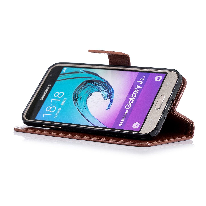 Ukayfe Custodia Compatibile con Samsung Galaxy J3//J3 2016,Bling Glitter Diamante Fiore di Prugna Modello Flip Case Custodia in Pelle PU e TPU Silicone con Supporto Stand Porta Carte Cover-Oro Rosa