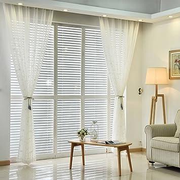 izuhause cortina de gasa blanca hojas bordadas poliester cortinas para habitacion salon
