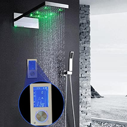hm Ducha termostático digital controlador Touch Control Panel SUS304 gran lluvia masaje baño techo montaje