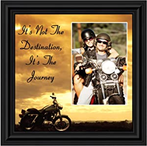 "Harley Davidson Gifts for Men and Women, Patriotic Harley Accessories, Harley Davidson Wedding Gifts, American Flag for Harley Riders, ""It's Not the Destination"" Unique Motorcycle Wall Decor, 9760B"
