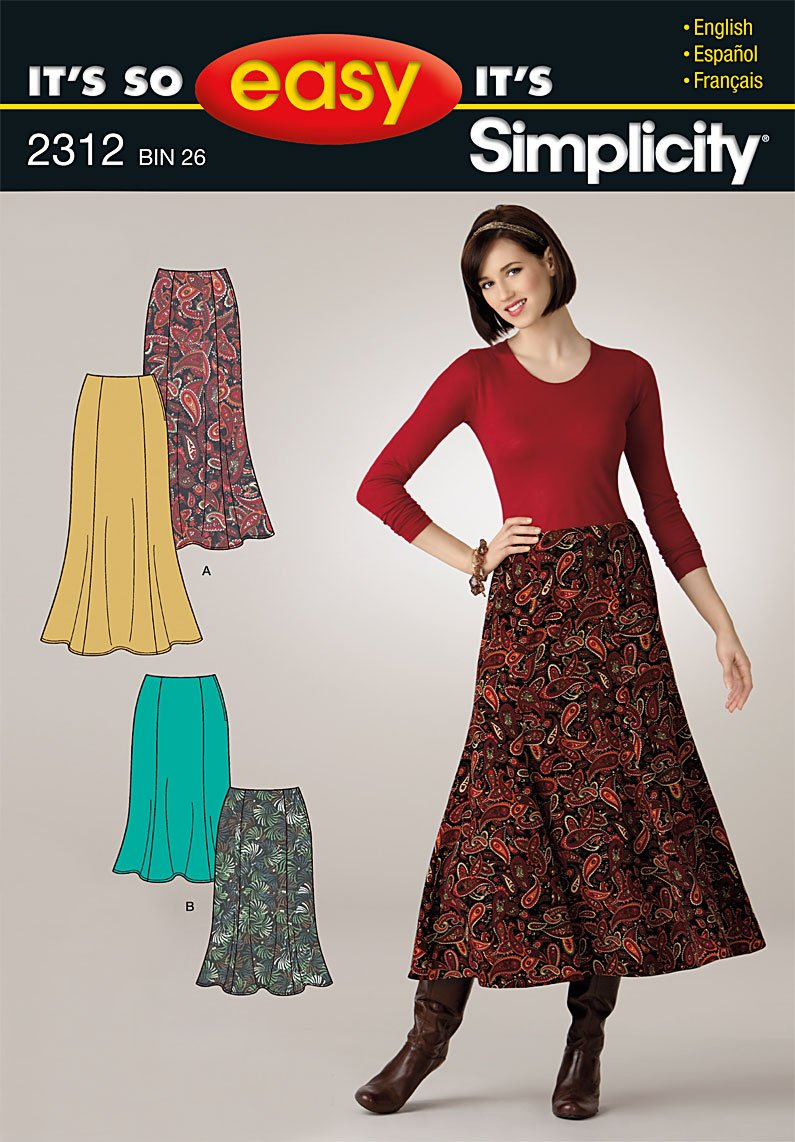 Simplicity Sewing Pattern 2312 It's So Easy Misses' Skirts, A (8-10-12-14-16-18) by Simplicity Creative Group, Inc   B004N3AXUW