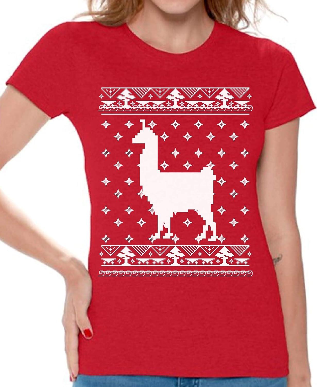 c1b08f8488160 Amazon.com  Awkward Styles Llama Christmas Tshirt for Women Llama Ugly  Christmas T Shirt  Clothing