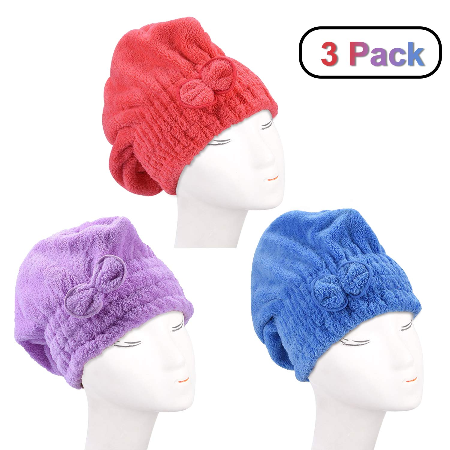 3Pcs Wet Hair Drying CapDee Banna Hair Drying Towels Ultra Absorbent Microfiber Drying Cap (RedBluePurple)