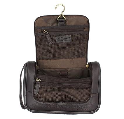 ab6d06aabf6 Ashwood Hanging Leather Wash   Shaving Bag 89145 Brown  Amazon.co.uk   Luggage