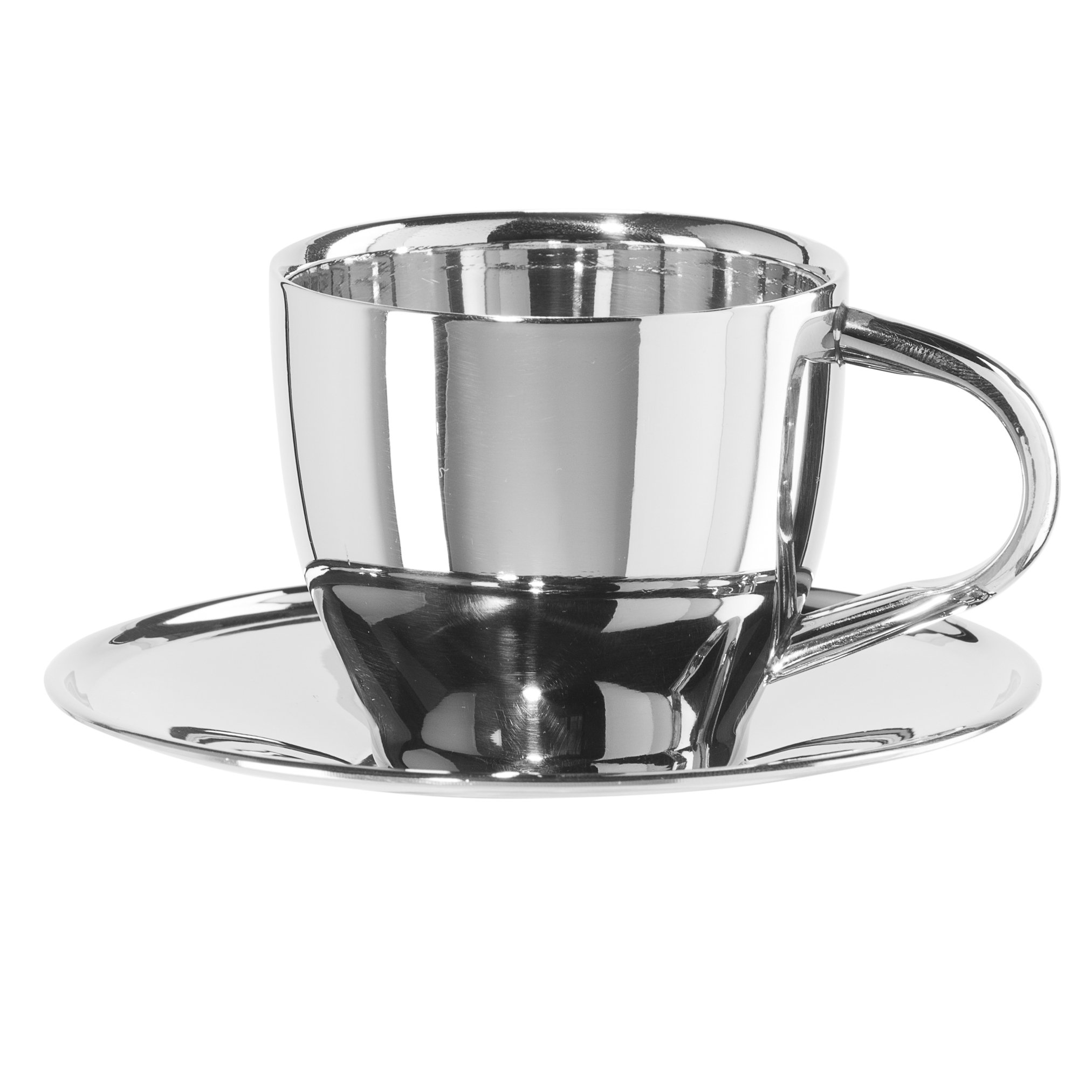 Oggi 6594.0 Coffee Cup & Saucer Double Wall (6 Oz), Stainless