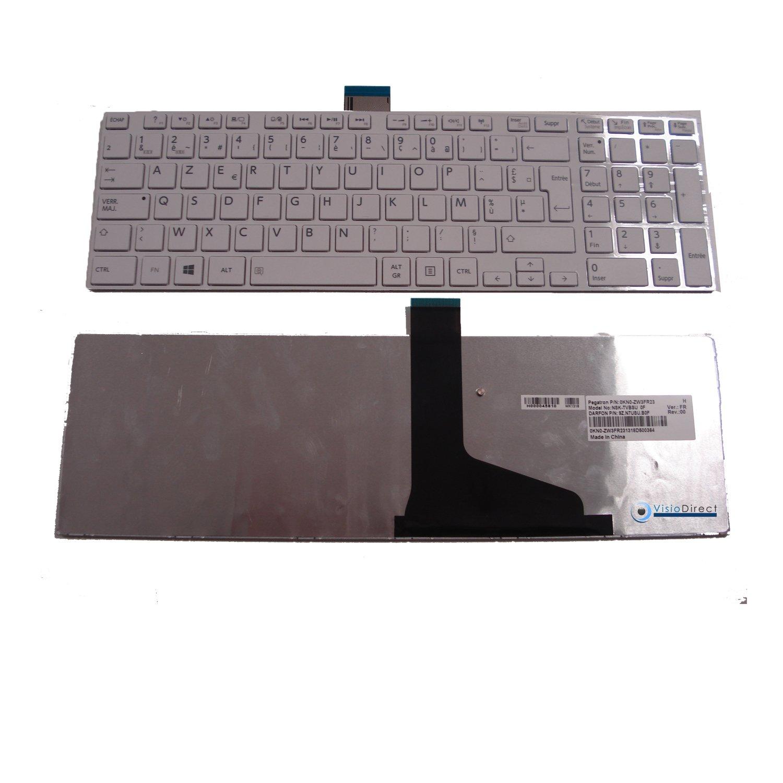 Teclado francés AZERTY para ordenador portátil Toshiba Satellite L850 blanco - Visiodirect -: Amazon.es: Informática