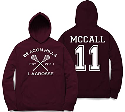 12454af9a8cdc1 McCall 11 Teen Wolf Beacon Hills Inspired Lacrosse Hoodie Adult Fashion  (Small)