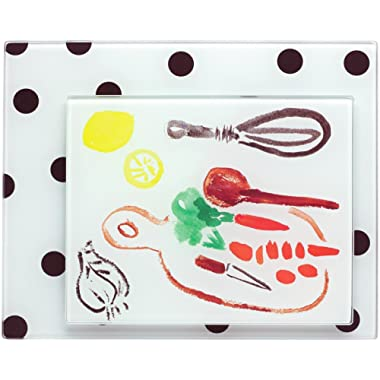 KSNY All in Good Taste Deco Dot and Pretty Pantry Food Prep Boards, Set of 2