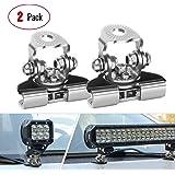 LED Light Bar Mounting Bracket, Nilight 2PCS Universal Adjustable Pillar Hood Led Work Light Mount Bracket Clamp Holder for O