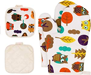 Pot Holders and Oven Mitts Sets Owl Oven Mitt Set with Pot Holders For Kitchen Heat Resistant Hot Pads and Oven Mitts Sets Cotton Potholders Oven Mittens with Pot Holder Home Baking Mitts For women