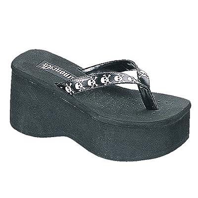 3 1/2 Inch Trendy Gothic Sandal Punk Shoe Black Flip Flop White Skulls Demonia