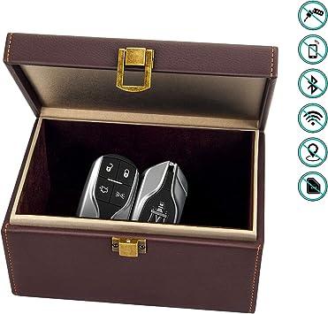 Bolatus Keyless Go Schutz Autoschlüssel Box Diebstahlschutz Rfid Signal Blocker Box Für Auto Schlüssel Und Handy Leder Faraday Box Schutzhülle Schlüsseltasche Große Safe Aufbewahrungsbox Braun Auto