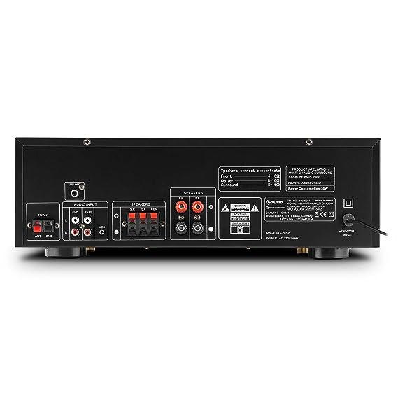 auna AMP-3800 • Amplificador Surround 5.1 • Estéreo Hi-Fi • Amplificador Home Cinema • 600 W • Radio FM • 2 entradas micrófono • USB • MP3 • SD ...