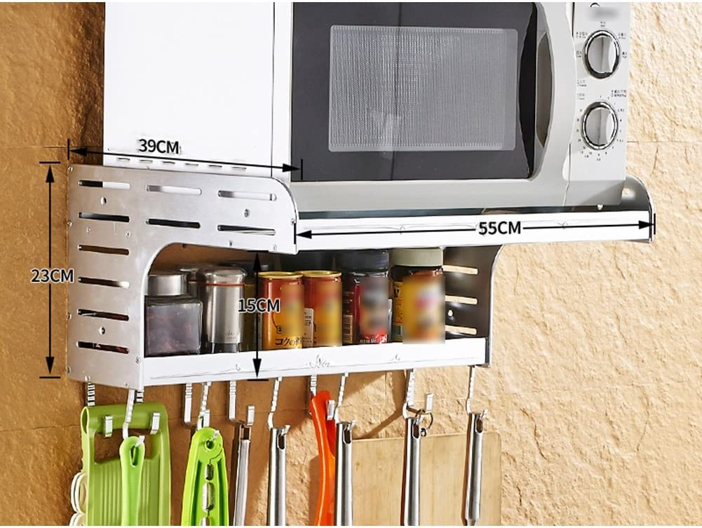 2 Colors Avaliable Color : Gold , Size : 48X23X39cm LIANGJUN Wall Mounted Microwave Oven Rack Metal Storage Shelf Kitchen Condiment Bottles 2 Layers 2 Sizes