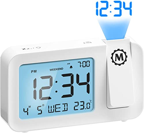 Marathon Night Owl 86 Ceiling Projection Alarm Clock with Backlight Display, Date, Indoor Temperature, Includes USB Power Cable, AC Power Adapter and Batteries Snow White