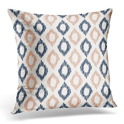 Amazon TORASS Throw Pillow Cover Navy Coral Ikat Blue Peach Best Peach Decorative Throw Pillows