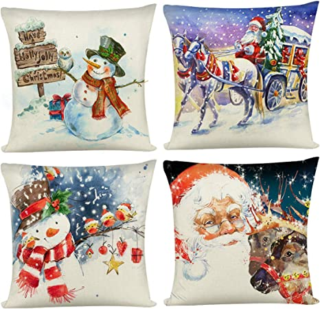 """18/"""" Christmas Santa Claus Cushion Cover Pillow Case Xmas Home Sofa Throw Decor"""