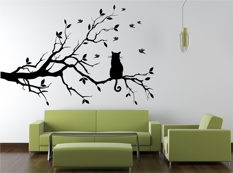 Dalinda® Wandtattoo Katze auf Ast Nr. L202 Wandsticker Wandmotiv ...