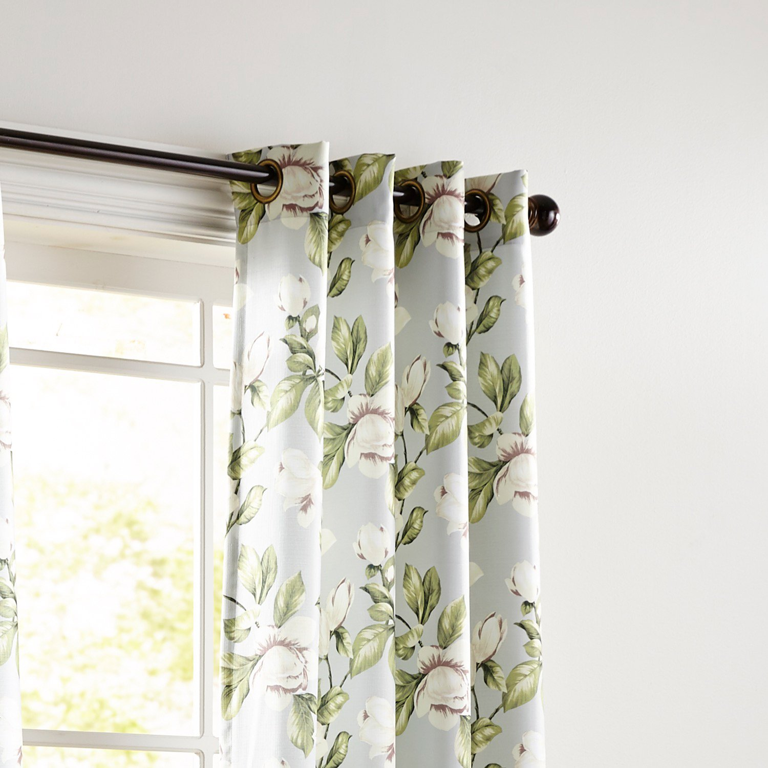 Pier 1 Imports Magnolia Floral Gray 96'' Grommet Curtain by
