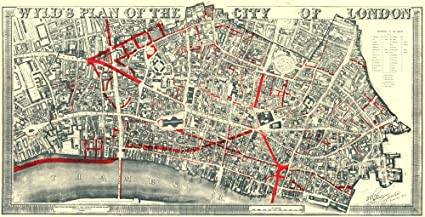 City Of London On Map.Amazon Com City Of London Wyld S Plan 19th Century Street