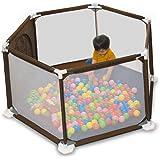 RiZKiZ 洗える ソフト ベビーサークル 【ダークブラウン】 軽量 倒れにくい 安全設計 ファスナー 扉 簡単組み立て 収納 六角形