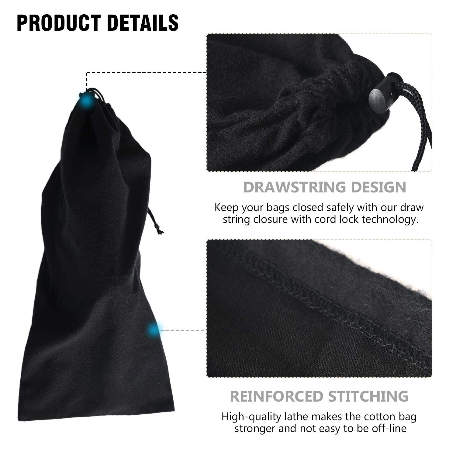 17.7 x 7.8, Set of 4 Shoe Storage Bags 100/% Cotton with Drawstring For Men and Women for Travel Protecting and Storing Shoes Black