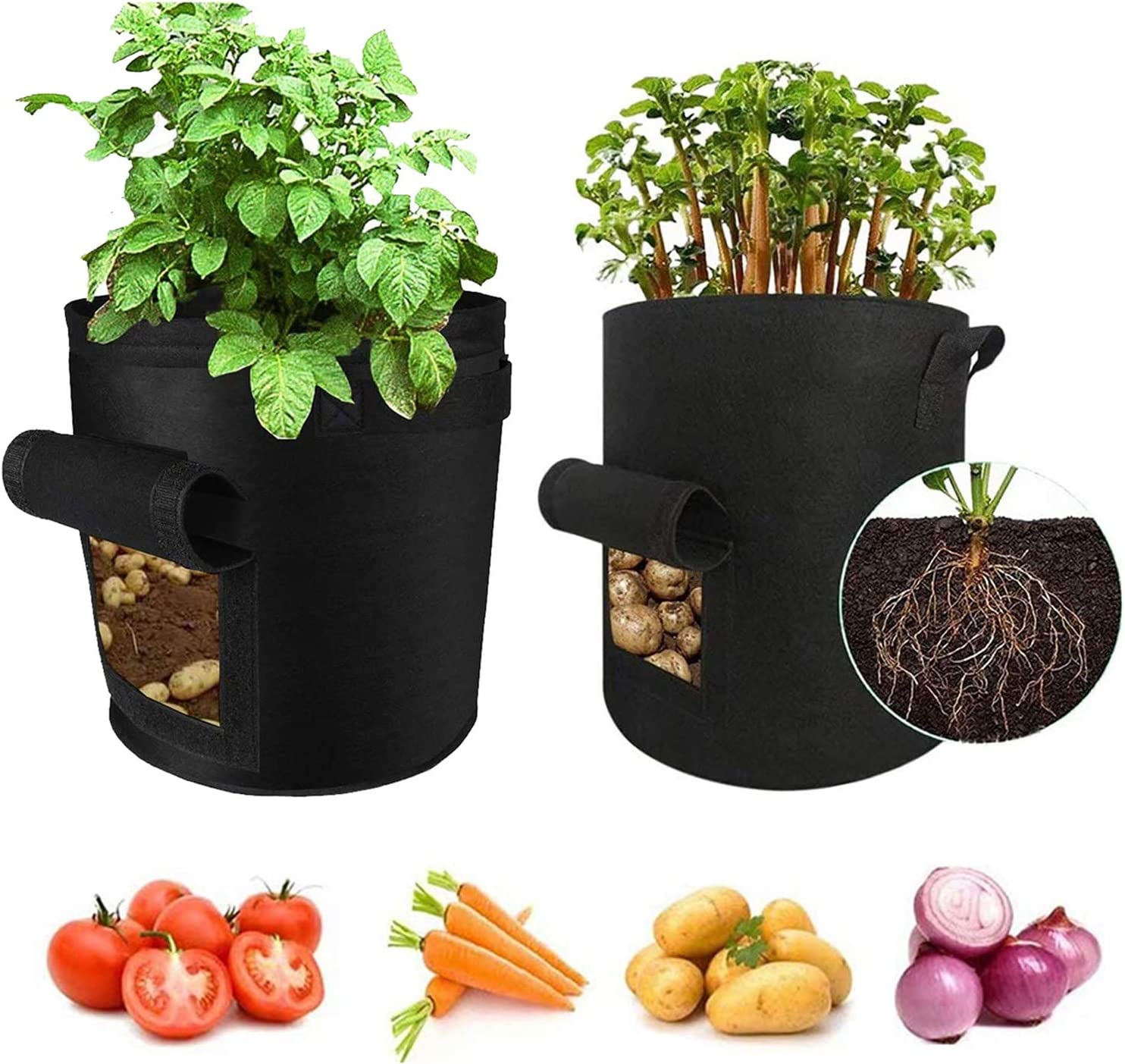 Grow Bags,Garden Plant Bag,Heavy Duty 400G Thick Fabric Container/Aeration Pots with Handles for Potato/Onion/Tomato/Flower Planting Growing Bags (10 Gallon)