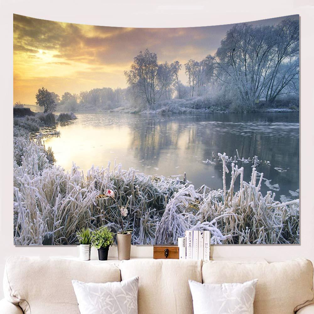 Tapestry Tapisseriewanddekorationsdecken-Wandtuchlappen-Hintergrundstoff, der Tapisserie-Schneeszene 3D Malt B07HY1FJSN Tapisserie Tapisserie Tapisserie e1f542