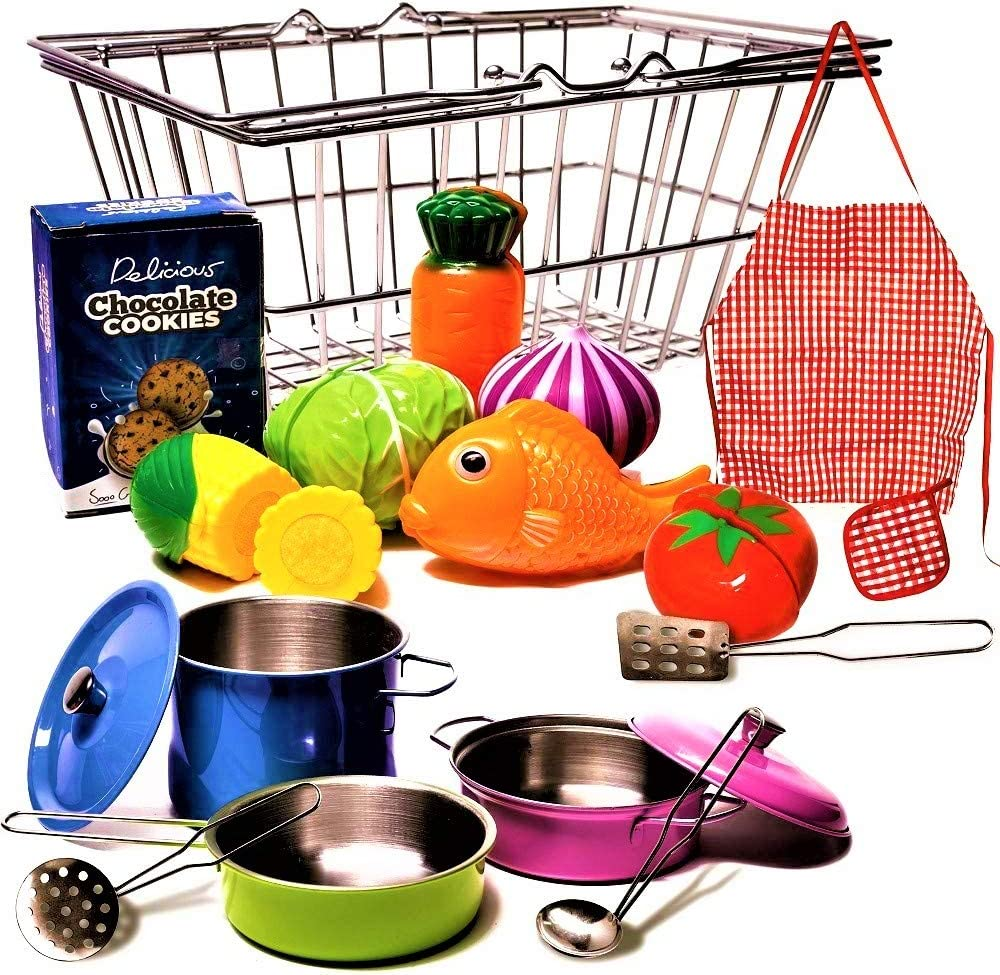 Stainless-steel Shopping Basket and Stainless Toy Kitchen Pots and Pans with Utensils - Beautiful Fish and Play Vegetables Toys - Apron - Pretend Play Grocery & Cooking For Toddlers Boys and Girls