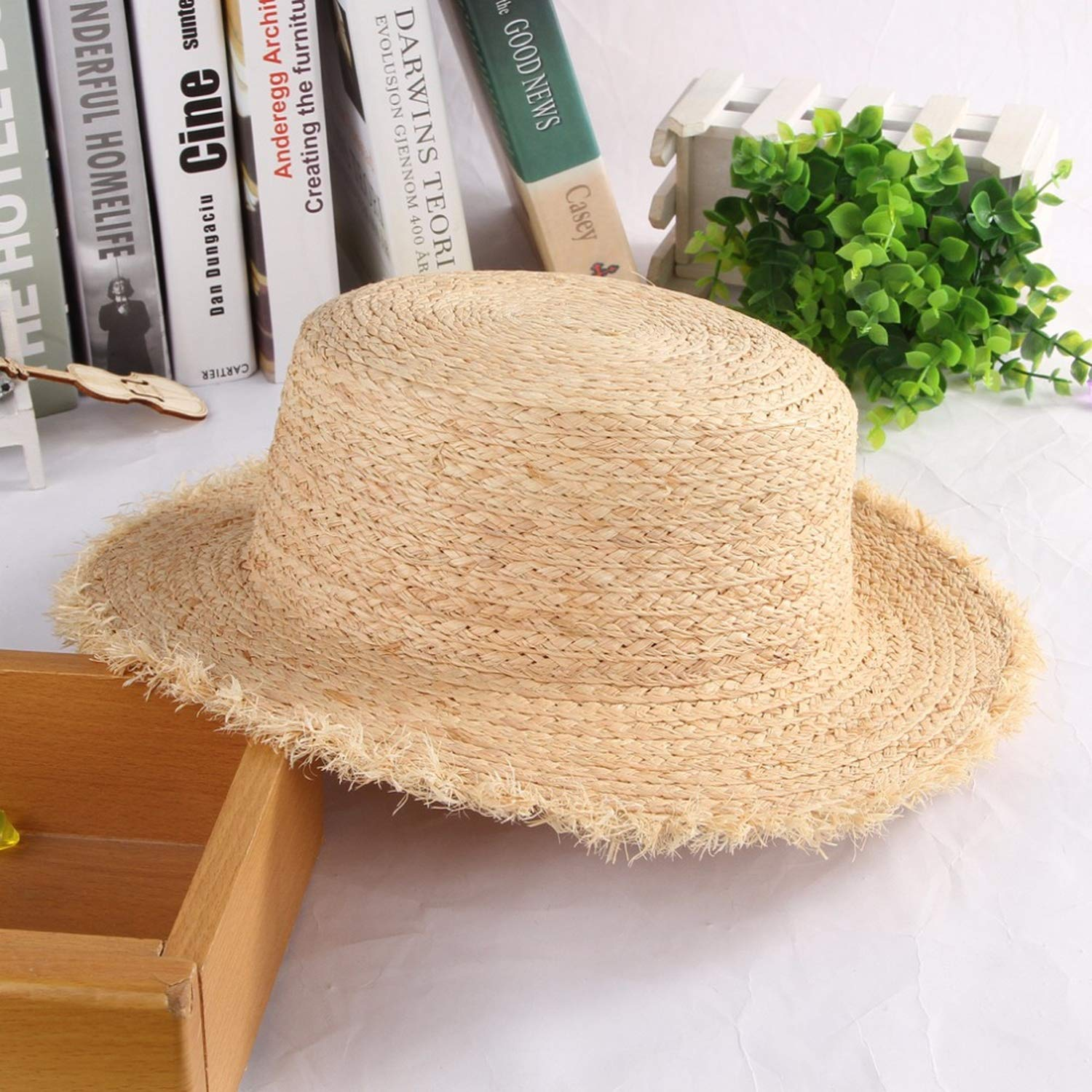 Simple Straw Hats Women Flat Top Fluffy Wide Brim Straw Woven Sun Hat Ladies Summer Holiday