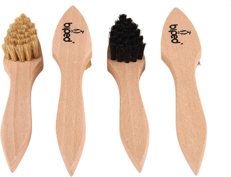 biped 4 pi/èces set brosses /à cirer Brosses /à po/êlon en bois avec des soies naturelles solides z2346