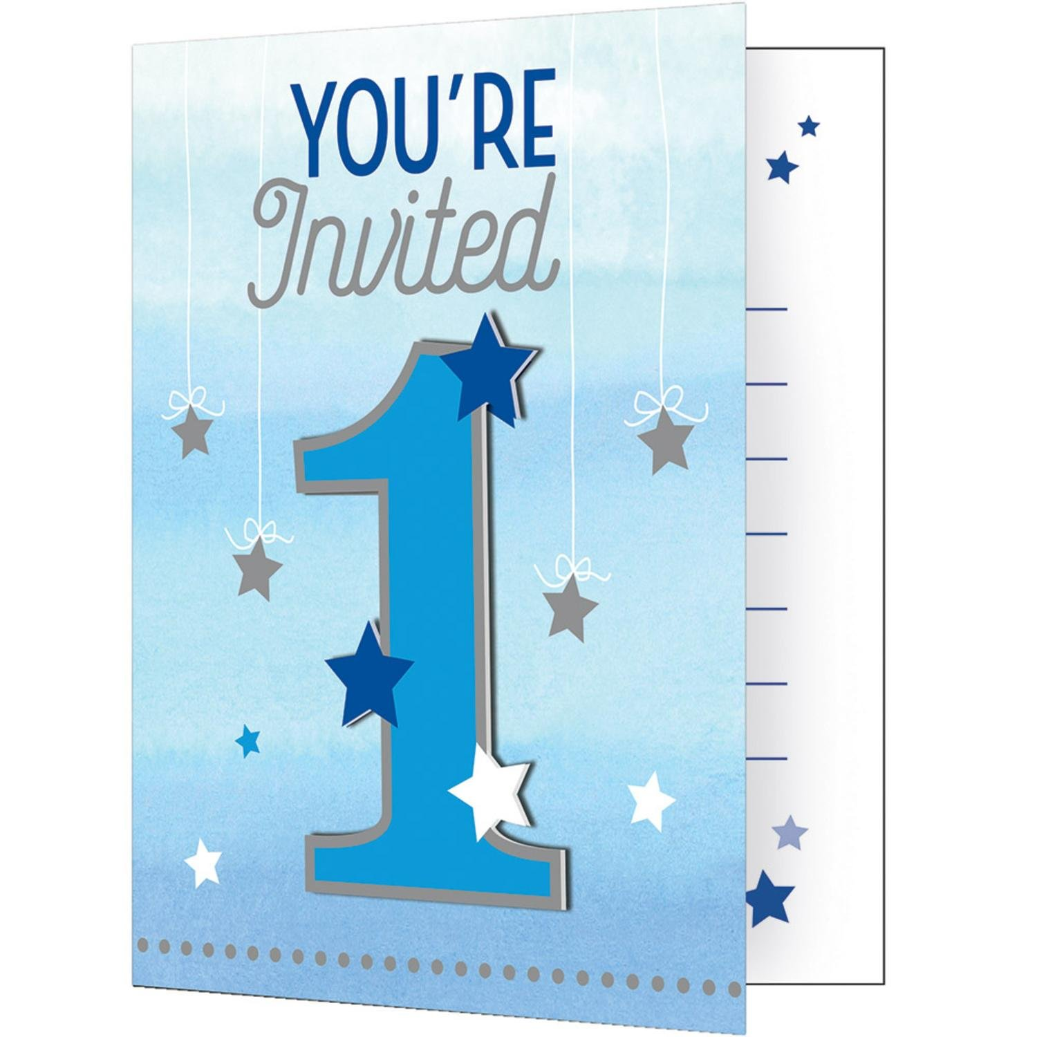 "Party Central Club Pack of 48 Metallic Gray and Blue ""One Little Star"" Invitations 7''"