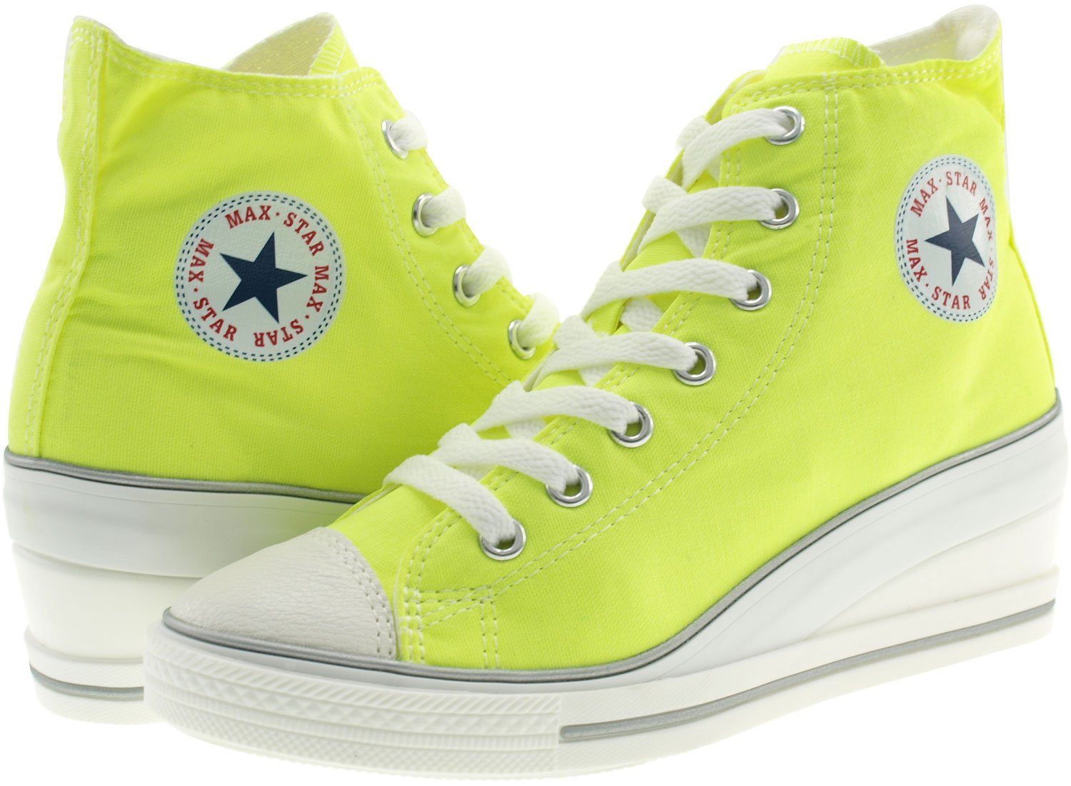 Maxstar Women's 7H Zipper B01G54B44A Low Wedge Heel Sneakers B01G54B44A Zipper 9 B(M) US|Neon Green 315183