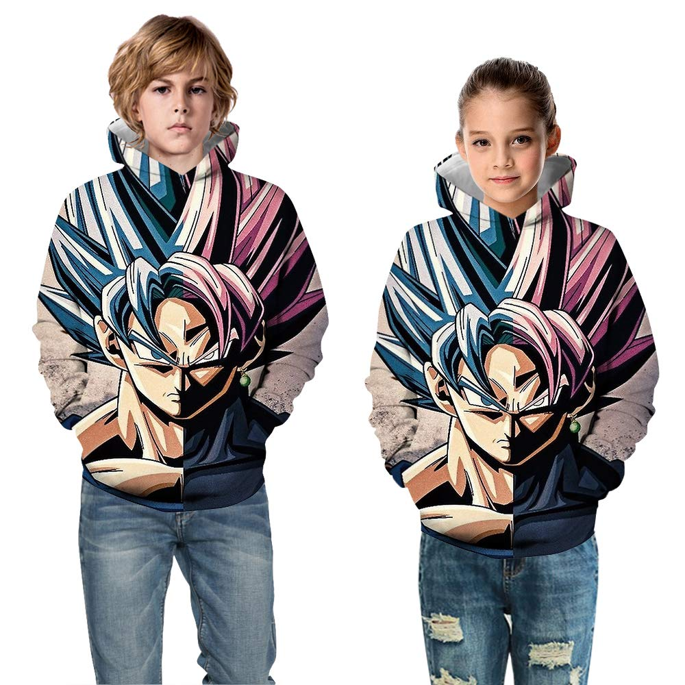AMOMA Unisex Boys Girls Anime Naruto One Piece Dragon Ball Sweatshirt 3D Printed Hoodies with Pockets for Children 4-13 Years
