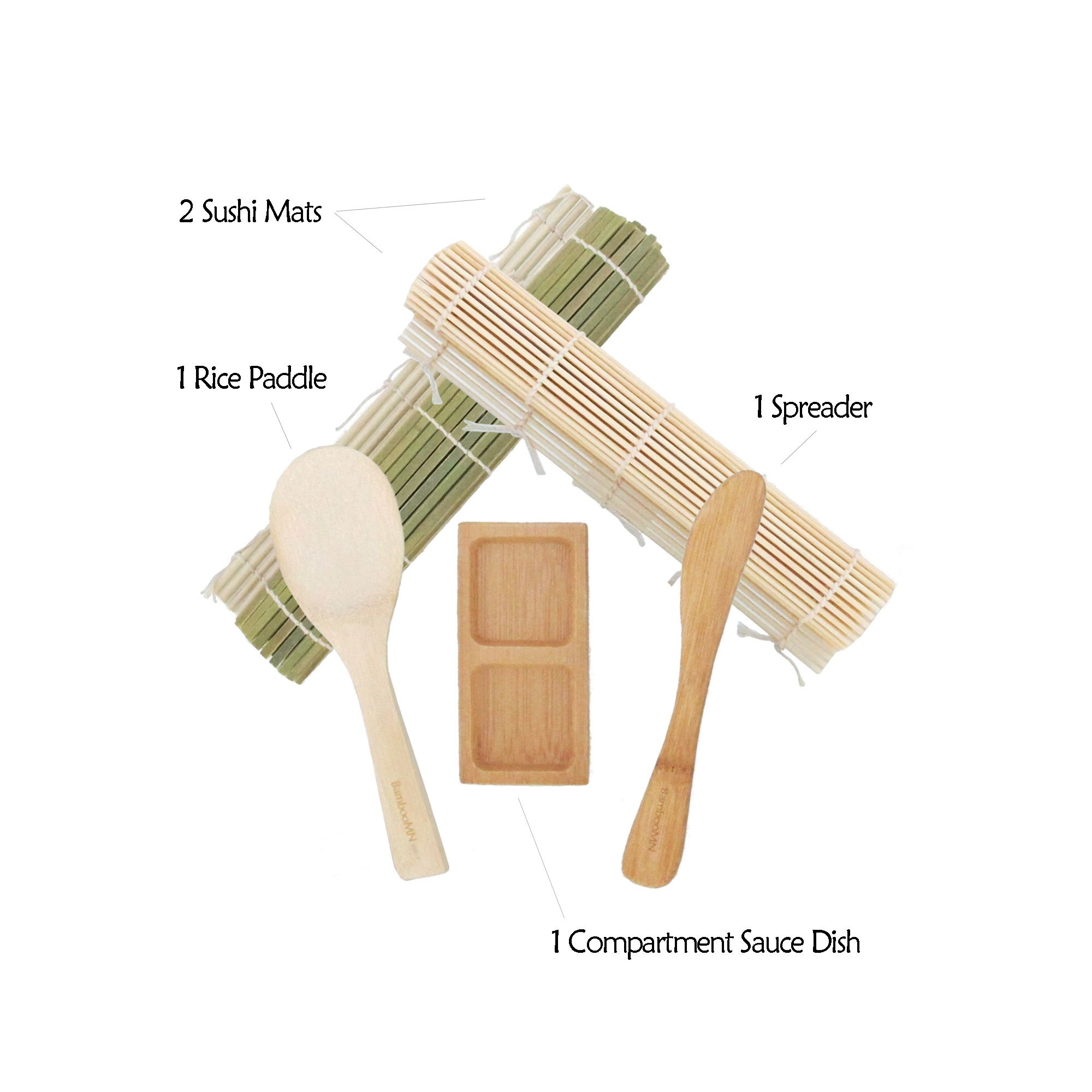 BambooMN Deluxe Sushi Maker Kit 2 SETS of 2x Rolling Mats, 1x Rice Paddle, 1x Spreader, 1x Compartment Sauce Dish | 100% Bamboo Mats and Utensils by BambooMN (Image #3)